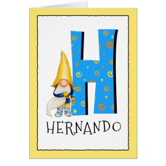 Gnome Kids Letter H Name and Age Birthday Greeting Card