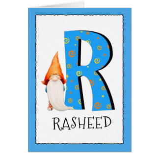 Gnome Kids Letter R Name and Age Birthday Greeting Card