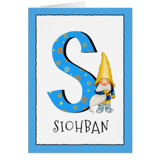 Gnome Kids Letter S Name and Age Birthday Greeting Card
