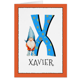 Gnome Kids Letter X Name and Age Birthday Greeting Card