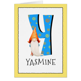 Gnome Kids Letter Y Name and Age Birthday Greeting Card