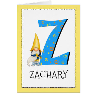 Gnome Kids Letter Z Name and Age Birthday Greeting Card