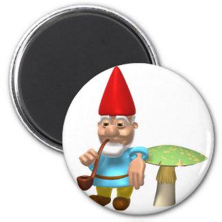 gnome leaning on mushroom 6 cm round magnet