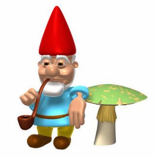 gnome leaning on mushroom photo cutout