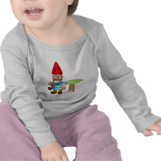 gnome leaning on mushroom tee shirts
