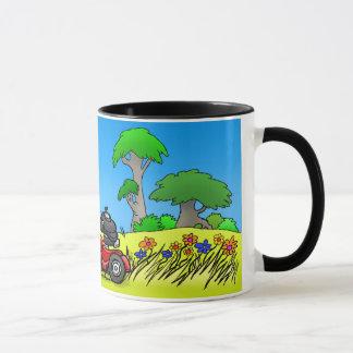 Gnome mowing a lawn. mug
