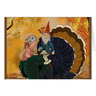 Gnome on Turkey Thanksgiving cards