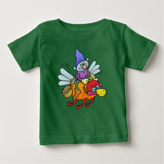 Gnome riding on the back of an insect, on a tee. baby T-Shirt