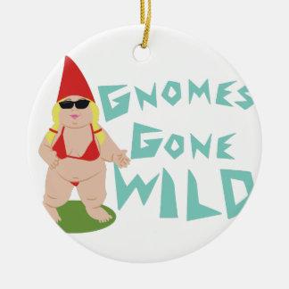 Gnome Wild Round Ceramic Decoration