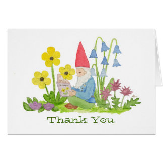 Gnome with Flower Book thank you card