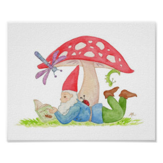 Gnome with Insect Book art print