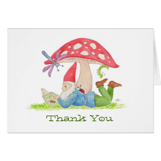 Gnome with Insect Book thank you card