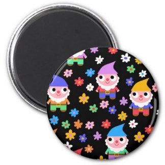 gnomes 6 cm round magnet