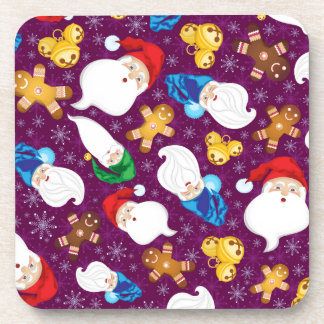 Gnomes and gingerbread men in snowflakes coaster