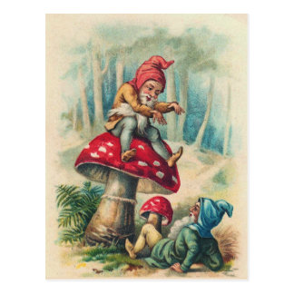 """Gnomes Playing on a Toadstool"" Postcard"
