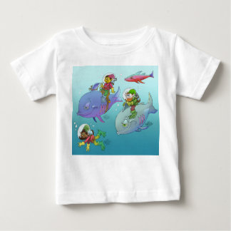 Gnomes riding fish, on a baby t-shirt. baby T-Shirt