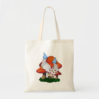 Gnomes Sewing, Toadstools, Fantasy Art, Sew Tote Bag