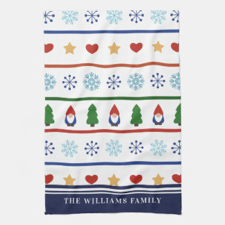 Gnomes & Snowflakes Christmas Pattern - Name Tea Towel