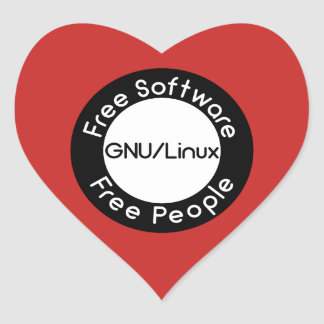 GNU/Linux Heart Sticker