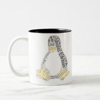 GNU / Linux Tux and GNU head + GPL v2 Preamble Two-Tone Coffee Mug