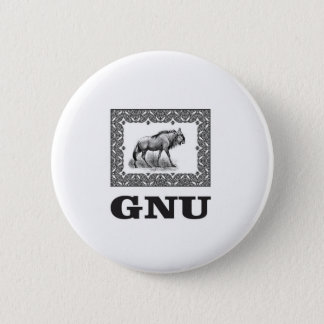 Gnu power art 6 cm round badge