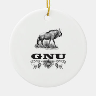 gnu power ceramic ornament