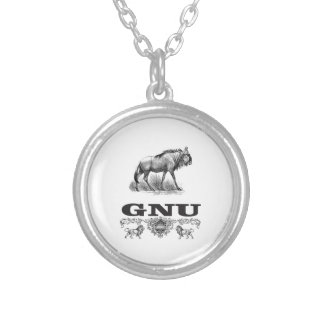 gnu power silver plated necklace