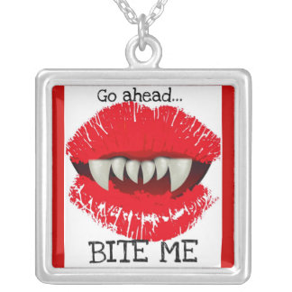 """GO AHEAD...BITE ME"" VAMPIRE BITE NECKLACE"