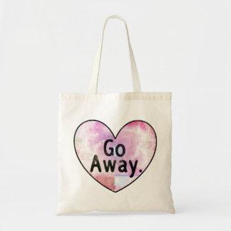Go Away heart tote bag