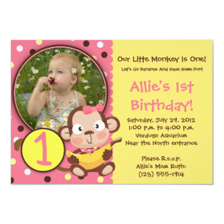 GO BANANAS - Little Monkey Party Invitations GIRL