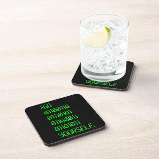 Go Binary Curse Word Yourself Beverage Coasters