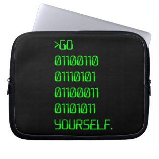 Go Binary Curse Word Yourself Laptop Sleeves