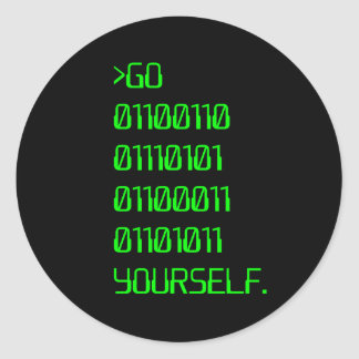 Go Binary Curse Word Yourself Round Stickers