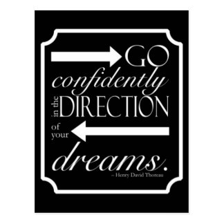 Go Confidently -- White on Black Postcard