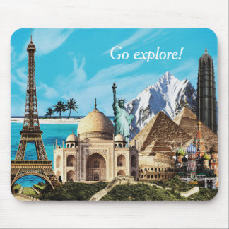 Go explore 7 wonders travel collage mousemat