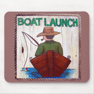 Go Fishing! Boat Launch Painting Mouse Pad
