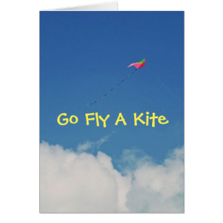 GO FLY A KITE/HUMOROUS B-DAY CARD/CUSTOMIZABLE NOTE CARD