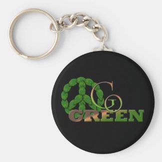 Go Green 2 Basic Round Button Key Ring
