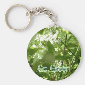 Go Green Basic Round Button Key Ring