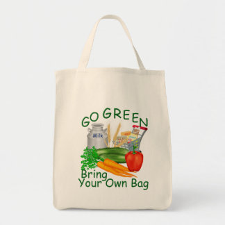Go Green - Bring Your Own Bag- Shopping Tote Grocery Tote Bag