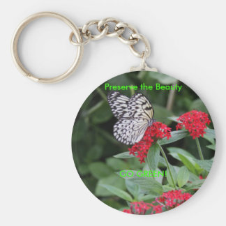 GO GREEN!  Butterfly Beauty Basic Round Button Key Ring