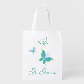 Go Green Butterfly Design Reusable Grocery Bag
