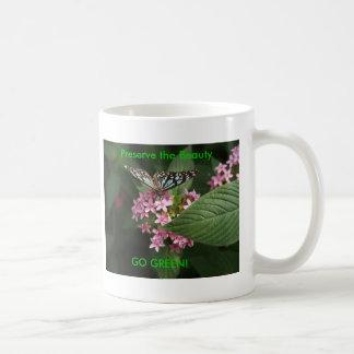 GO GREEN! Butterfly Flower Basic White Mug