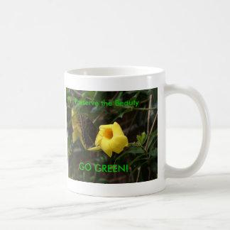 GO GREEN! Butterfly on Yellow Flower Basic White Mug
