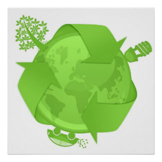 Go Green Car Eco Friendly Earth Globe Illustration Poster
