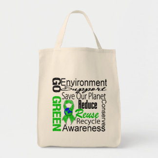 Go Green Collage Grocery Tote Bag