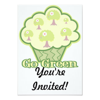 Go Green Cupcake 13 Cm X 18 Cm Invitation Card