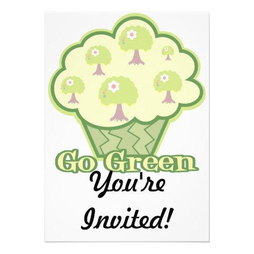 Go Green Cupcake Custom Invitations