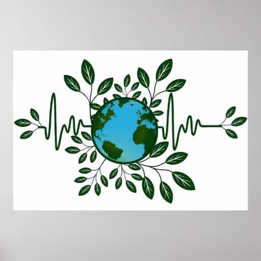 Go Green Eco Earth Friendly Planet Illustration Po Poster