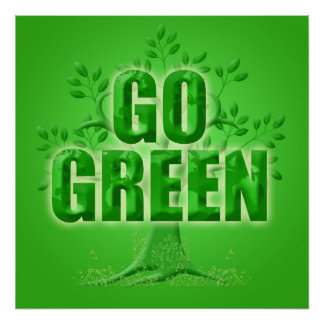 Go Green Eco Tree with Leaves Illustration Poster